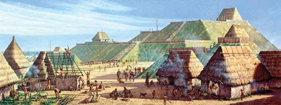 Cahokia, home to approx. 20,000 and the largest city in the U.S. before Columbus